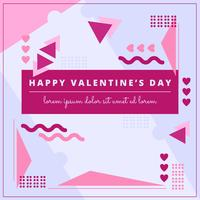 Vector Memphis Style Valentine's Day Composition