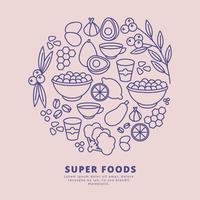 Ilustración de Vector Super Foods Outline