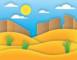 Vector de paisaje de arte de papel de desierto