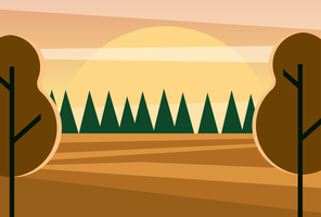 Clean and Simple Modern Abstract Geometric Forest Landscape in The Sunset