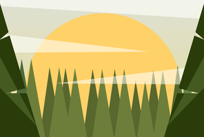 Clean and Simple Modern Abstract Geometric Forest Landscape in The Sunrise
