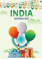 Happy Indian Republic Day Celebration Poster or Banner on Green Background