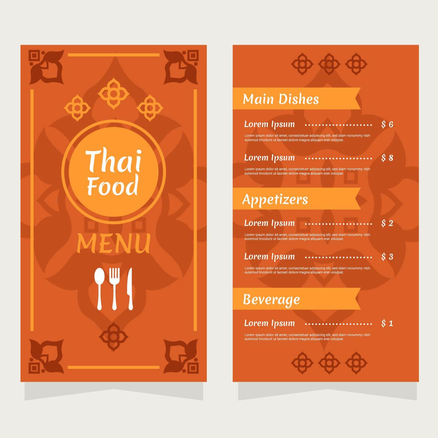 Vector de menú de restaurante de comida de Tailandia - Descargue ...