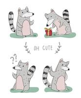 Nette Lemurs-Charakter-Gekritzel-Vektor-Illustration