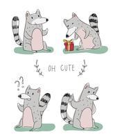 Schattig Lemurs karakter Doodle vectorillustratie