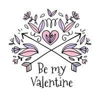Cute Ornaments And Flowers With Arrows To Valentine's Day