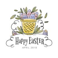 Cute basket With Eggs Inside To Easter Day vector