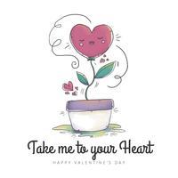 Leuke plant met hart en ornamenten tot Valentijnsdag