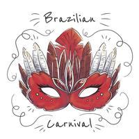 Watercolor Red Brazilian Mask vector