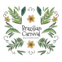 Cute Tropical Background With Leaves And Flowers To Brazilian Carnival