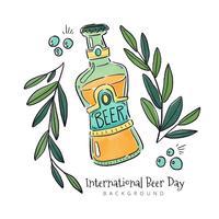 Botella de cerveza con hojas y burbujas