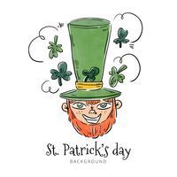 Leuk St. Patricks karakter lachend met klaverblaadjes