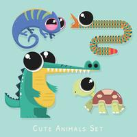 Cute Wild Animal Set Vector