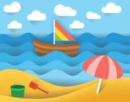 Beach Paper Art Landscape Vector