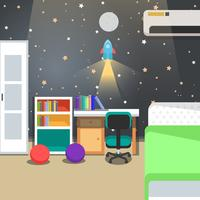 Kids Room Decoration Space Theme Vector Illustration