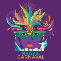 Rio Carnaval festival poster illustration. Brazil night Show Carnaval Party Parade Masquerade
