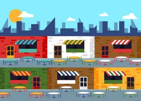 Food Court Commercial Center Flat Illustration Vector