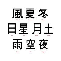 Freier japanischer Buchstabe-Wort-Vektor