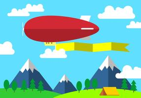 Red Dirigible With Banner Free Vector