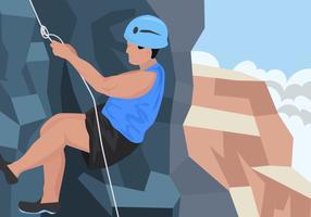 A Climber Man Doing Rappel