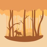 Warm Colour Abstract Forest Illustration