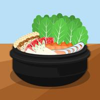Hotpot and Ingredients Vector Illustration