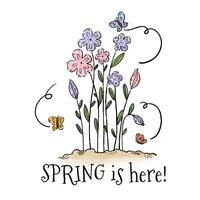 Nette Blumen und Schmetterlinge mit Verzierungen und Zitat