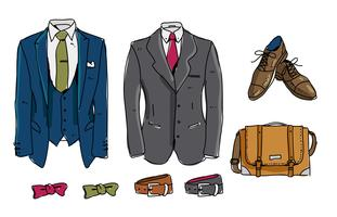 Formal Tux Set Hand Drawn Vector Illustration