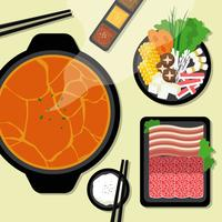 Hotpot and ingredients illustration