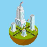 Flat Isometric NYC Vector Illustration