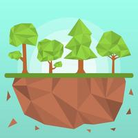 Flat Polygon Trees Vector Illustration