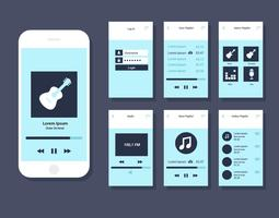 Vector de GUI da aplicação móvel de música