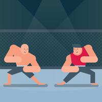 Two Fighters Of Martial Mixed Arts Match Illustration