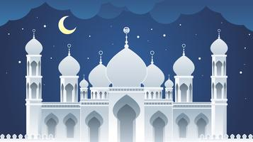 mosque paper art landscape vector