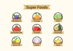 Super Foods Badges Illustrations
