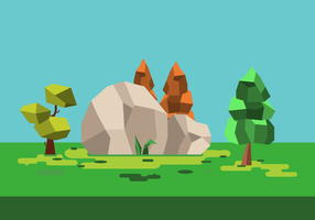 Simple Low Poly Forest Vector