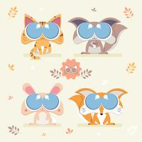 Cute Critter Big Eyes Set Vector