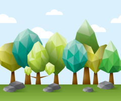 Low Poly Forest lllustration vector