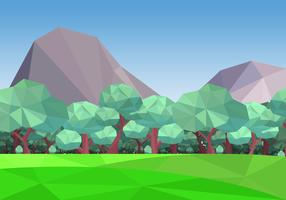 Low Poly Forest With Mountain Background Vector Illustration