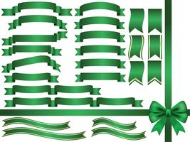 A set of assorted green ribbons. vector