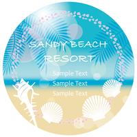 A circular vector summer background/message frame.