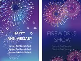 Um conjunto de dois quadros de fogos de artifício com espaço de texto, ilustrações vetoriais.