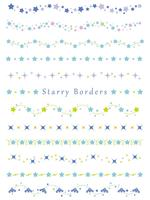 A set of assorted borders with various star patterns. vector
