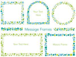 Un conjunto de marcos de mensaje de mosaico de vector surtido.