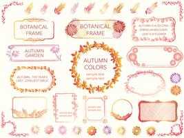 A set of assorted frames of flowers and plants in autumn colors.  vector