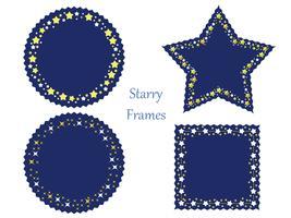Ein Satz von vier sortierten Rahmen mit verschiedenen Sternmustern.