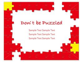 A red jigsaw puzzle frame. vector