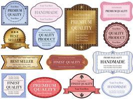 Eine Reihe von sortierten Etiketten mit Texträumen.
