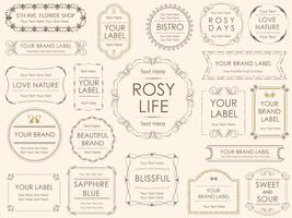 A set of assorted labels.