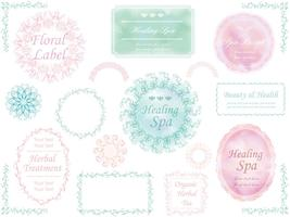 A set of assorted pastel color labels.